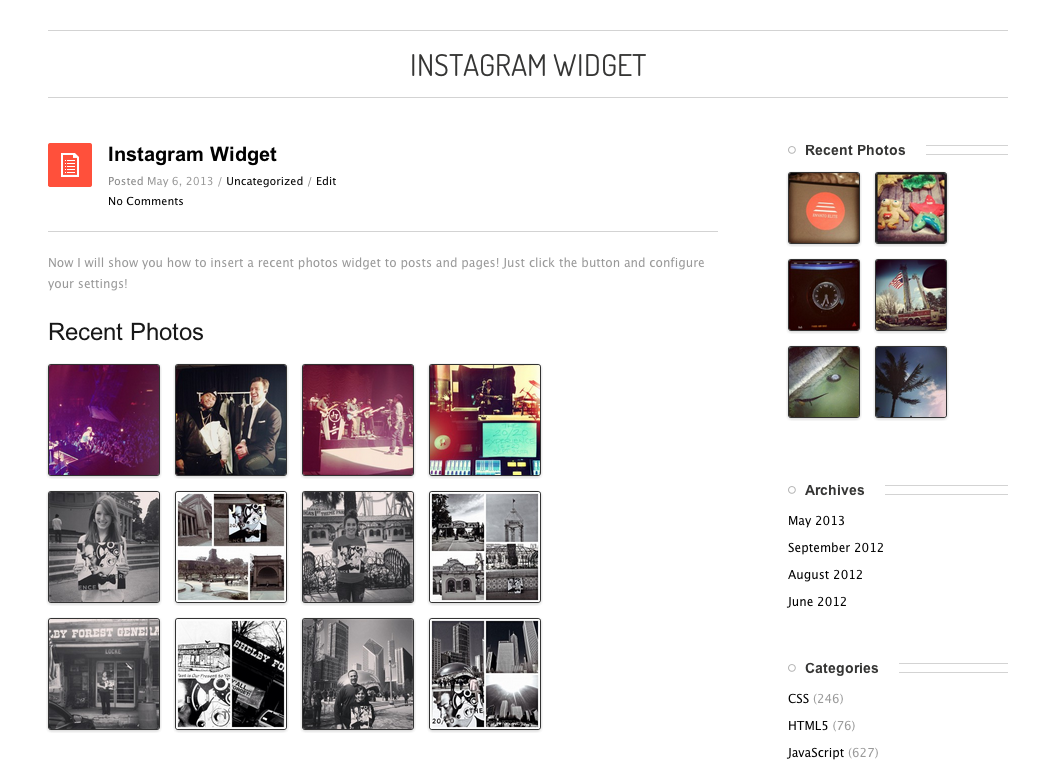 Instagram Widget by WPZoom